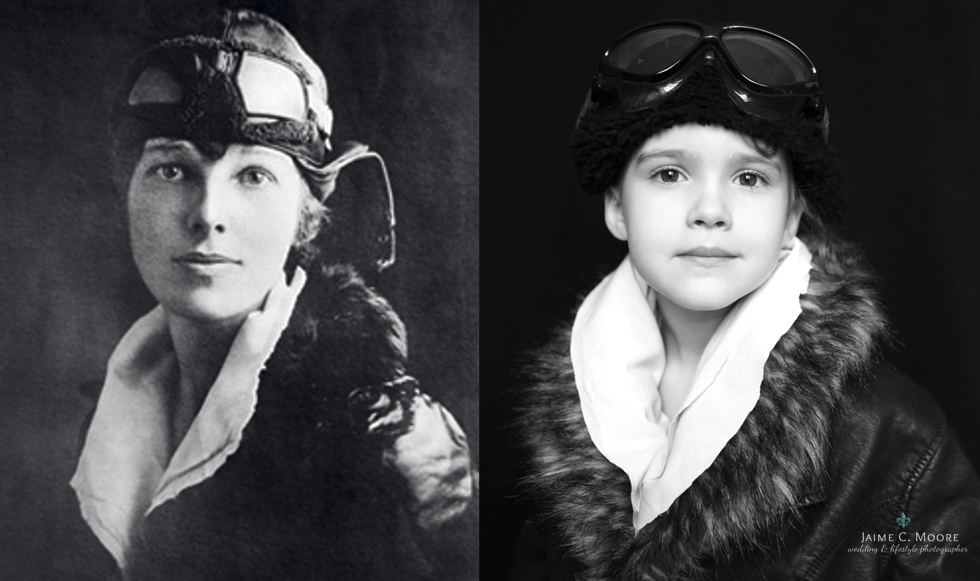 Jaime dressed up her daughter as women who have truly have their mark on history and society. One is female pilot, Amelia Earhart . What a stunning photo!